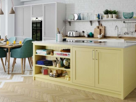 Aldana (Dust Grey & Pale Yellow Colour Match & Brillant White) - Kitchen Stori