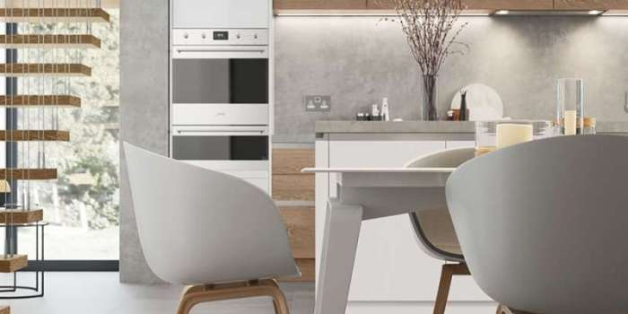 Zola Gloss Handleless White & Tavola Parched Oak
